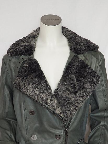 Dámský kožený kabát + límec PERZIÁN