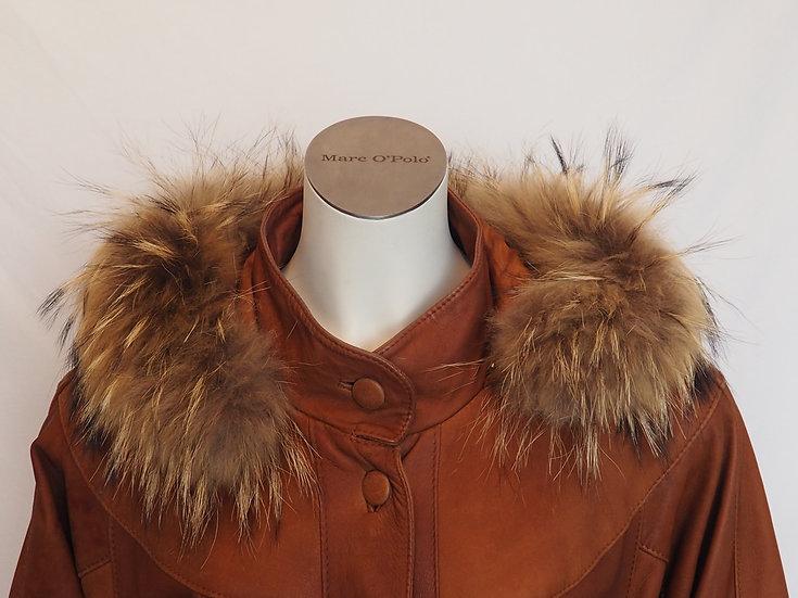 Dámský jarní kožený kabát + lem LIŠKA