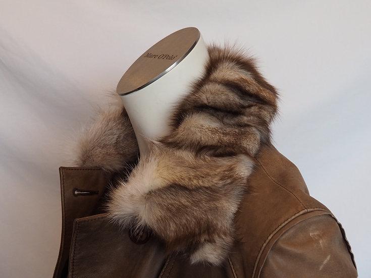 Dámský kožený kabát + POLÁRNÍ LIŠKA (nožičky)