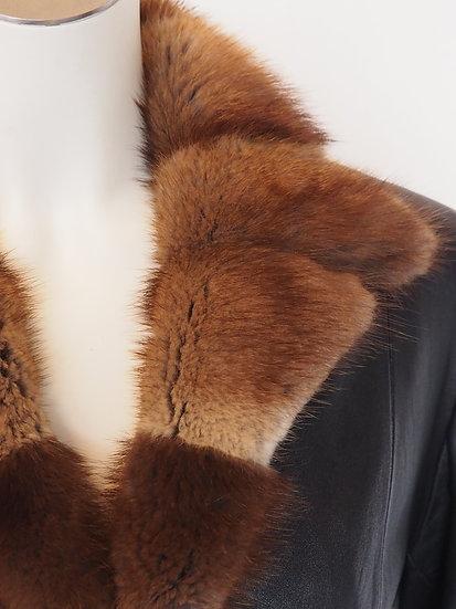 Dámský kožený kabát + límec BIZAM