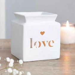 White Love Tea Light Wax Burner