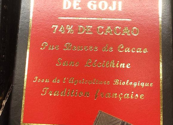 CHOCOLAT NOIR 74% AUX BAIES DE GOJI BIO - 100G - MOULIN DES MOINES