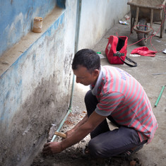 Installing Pipes in Balambu Lower Secondary School