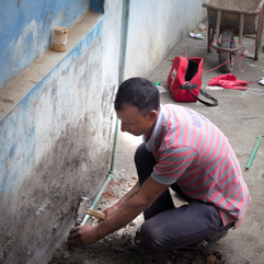 Installing Pipes in Balambu Lower Secondary School