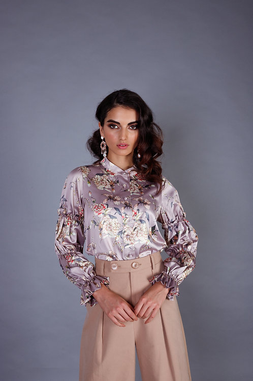 Floral Printed Blouse in Lilac