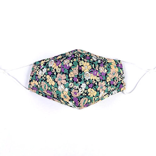 Floral Printed Cotton Face Mask in Purple