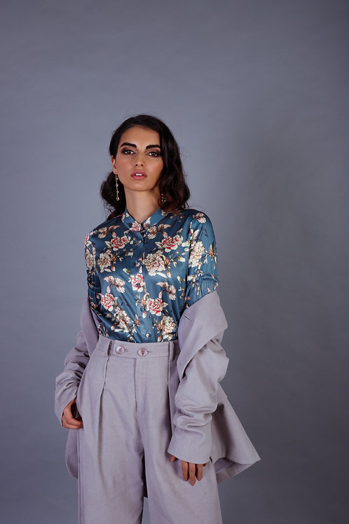 Floral Printed Blouse in Blue