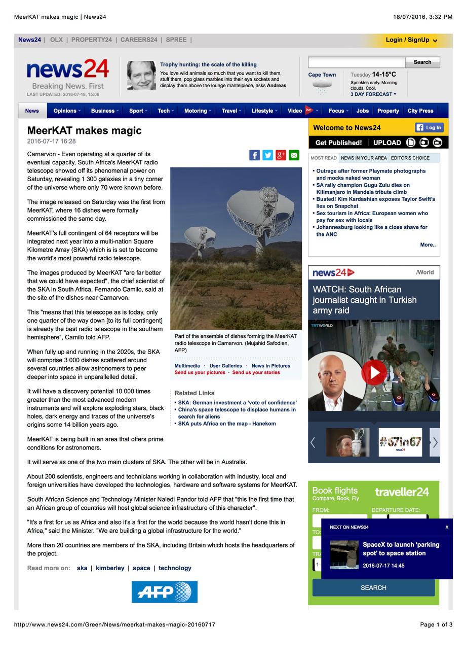 """Square Kilometre Array (SKA) which is is set to become the world's most powerful radio tel"