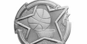 """Star 2"""" Silver Basketball Medals"""