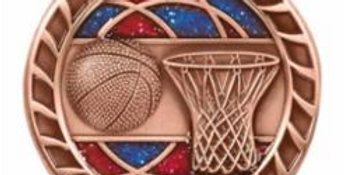 "Red/Blue Glitter 2.5"" Bronze Basketball Medals"
