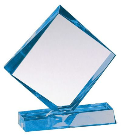 "LUCITE AWARD W BASE BLUE 7"" X 6"""