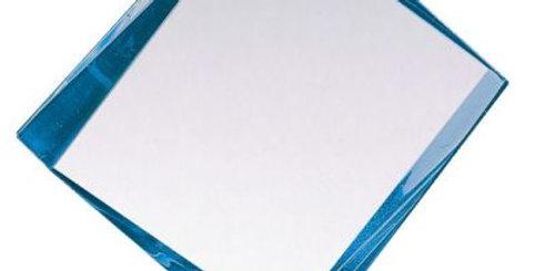 "LUCITE AWARD W BASE BLUE 7"" X 6"""