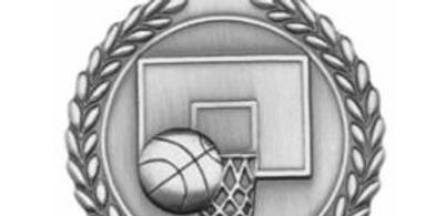 "Standard Die Cast 2 3/4"" Silver Basketball Medals"