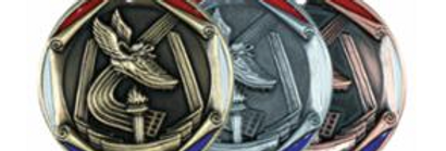 """Red/Blue Die Cast 2"""" Track Gold Medals"""