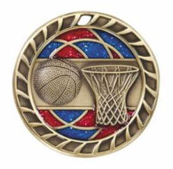 "Red/Blue Glitter 2.5"" Gold Basketball Medals"