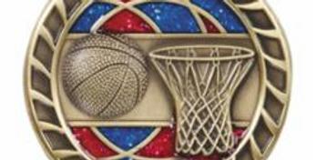 "Red/Blue Glitter 2.5"" Gold Basketball Medals"