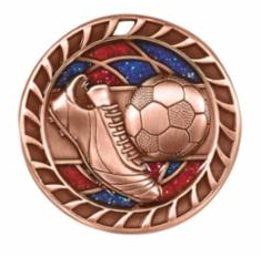 "Red/Blue Glitter 2.5""Bronze Soccer Medals"