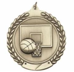 "Standard Die Cast 2 3/4"" Gold Basketball Medals"