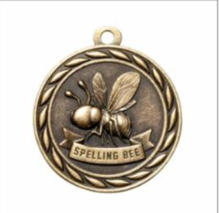 "Standard 2"" Gold Spelling Bee Medal"