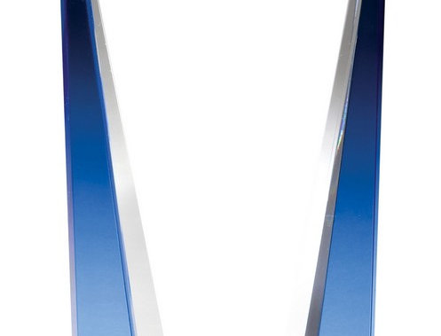 """CRYSTAL COOL BLUE STRIP ON CLEAR CRYSTAL BASE LASERABLE 6"""" X 10"""""""
