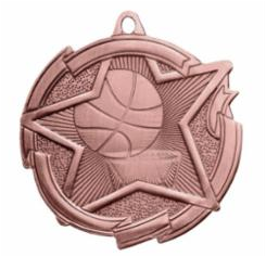 "Star 2"" Bronze Basketball Medals w/ engraving"