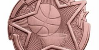 """Star 2"""" Bronze Basketball Medals w/ engraving"""