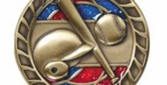"Red/Blue Glitter 2.5""Gold Baseball Medals"