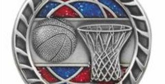 "Red/Blue Glitter 2.5"" Silver Basketball Medals"