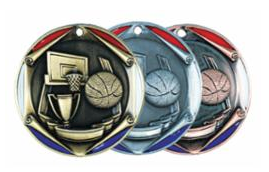 """Red/Blue Die Cast 2"""" Silver Basketball Medals"""