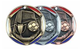 "Red/Blue Die Cast 2"" Silver Soccer Medals"