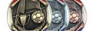 """Red/Blue Die Cast 2"""" Silver Soccer Medals"""