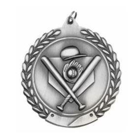 "Standard Die Cast 2 3/4"" Silver Baseball Medals"