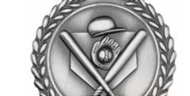"Standard Die Cast 2 3/4"" Silver Baseball Medals"