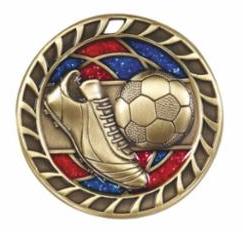 "Red/Blue Glitter 2.5"" Gold Soccer Medals"