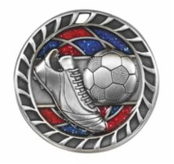 "Red/Blue Glitter 2.5"" Silver Soccer Medals"
