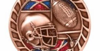 """Red/Blue Glitter 2.5"""" Bronze Football Medals"""