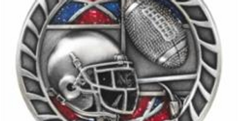 """Red/Blue Glitter 2.5"""" Silver Football Medals"""