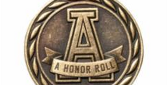 """Standard 2"""" Gold A Honor Roll Medal"""