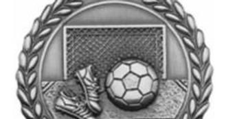 "Standard Die Cast 2 3/4"" Silver Soccer Medals"