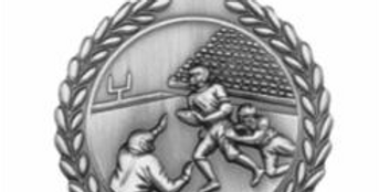 "Standard Die Cast 2 3/4"" Silver Football Medals"