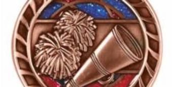 "Red/Blue Glitter 2"" Cheer Bronze Medals"