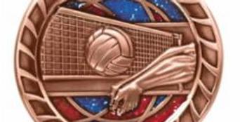 "Red/Blue Glitter 2.5"" Volleyball Bronze Medals"
