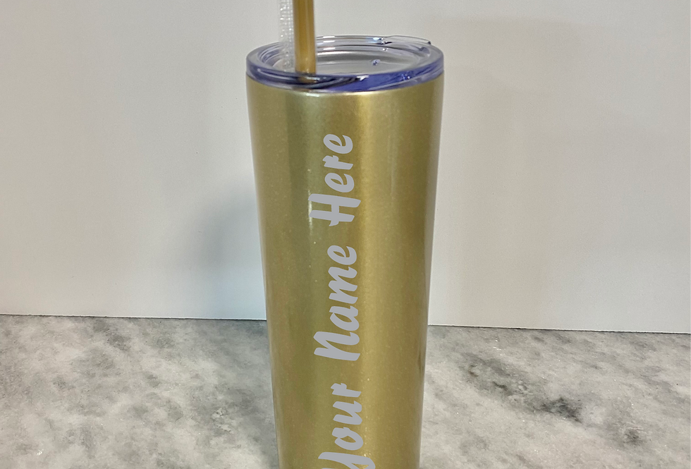 Personalized Gold shimmer tumbler