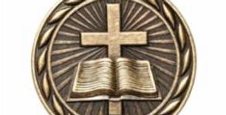 """Standard 2"""" Gold Christian Medal"""