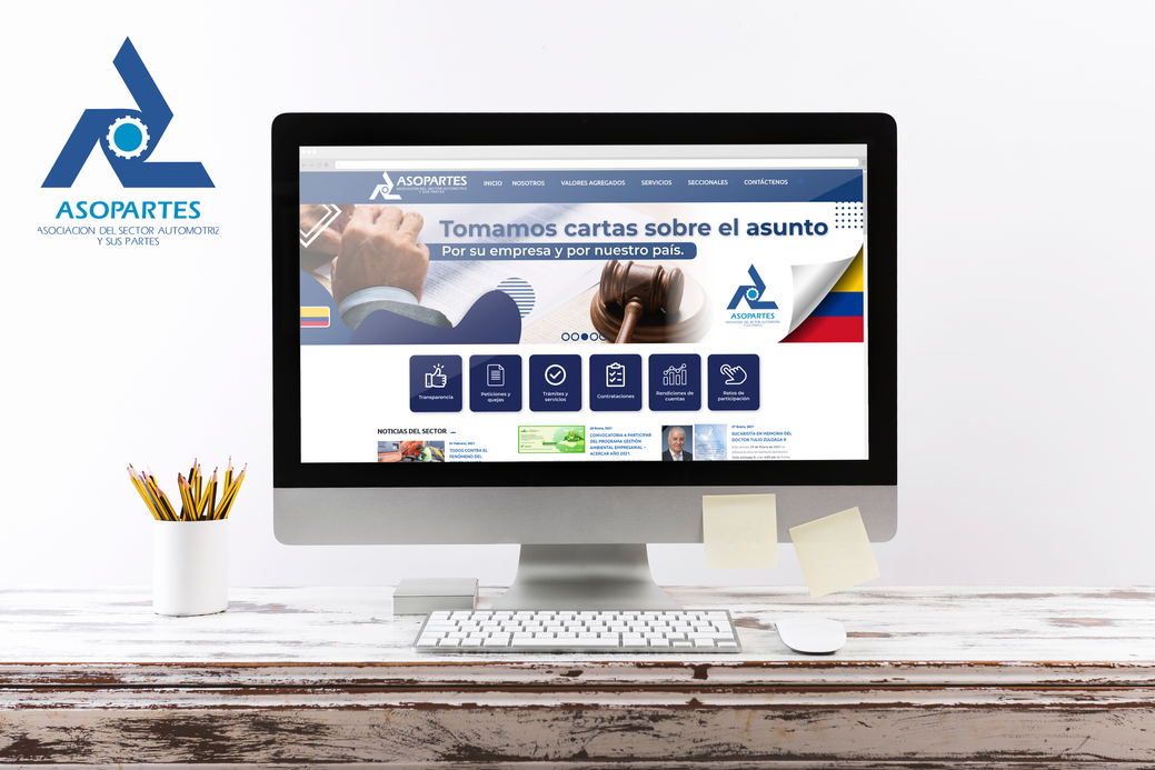 ASOPARTES - Propuesta visual tipo (Mockup) para web de Asopartes Colombia.