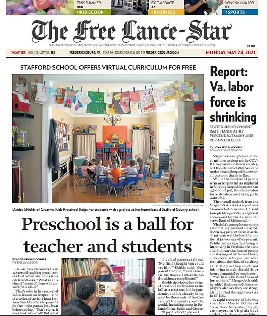 virtual preschool free newspaper article