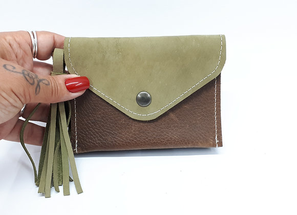 Triple-wallet Lime/brown/black