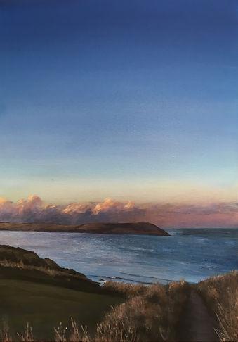 cornish landscape painting, stepper point painting, painting, cornwall, north cornwall, greenaway painting