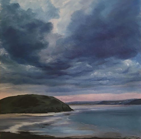 brae hill painting, bray hill painting, Daymer bay painting, padstow painting, daymer bay, greenaway, polzeath, rock