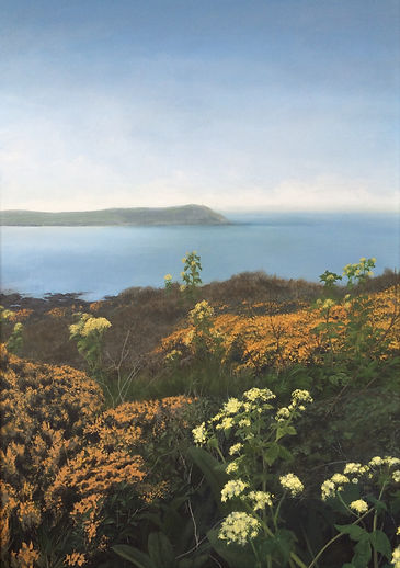 Rock, Greenaway, Stepper point, polzeath,padstow, sea, painting, camel estuary, heather, gorse, cornish, landscape, acrylic, sky, flowers, cornwall painting